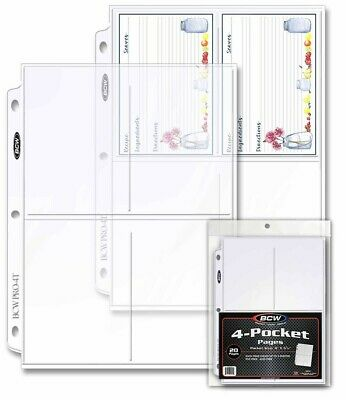 "4-Pocket Standard Postcard Size BCW Pro 3.5x5.25"" Protective Pack of 20 Pages"