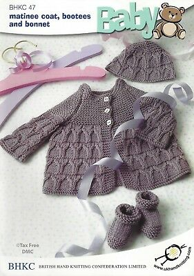 Vat Free Hand Knitting Pattern 4ply Baby Matinee Jacket Coat Hat