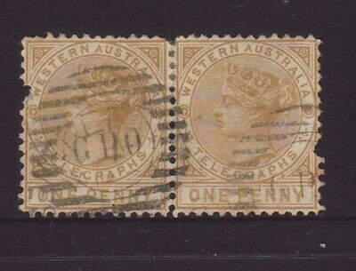 WESTERN AUSTRALIA 1886 1d Bistre Telegraphs pair postally used