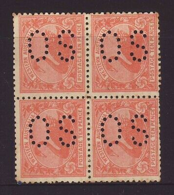 WA 1902 10d Red/Orange Block of 4 with OS perfin unused w/ some gum