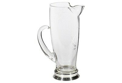 Wallace Sterling Footed Martini Cocktail Beverage Pitcher - 1Qt+ Starburst Glass