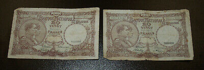 Two 1920 Belgium 20 Francs Notes - VG/F
