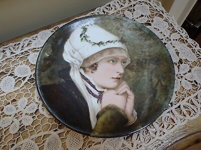 Antique HP Portrait Plate Small Charger Signed Bessie Gilson Dated 1881