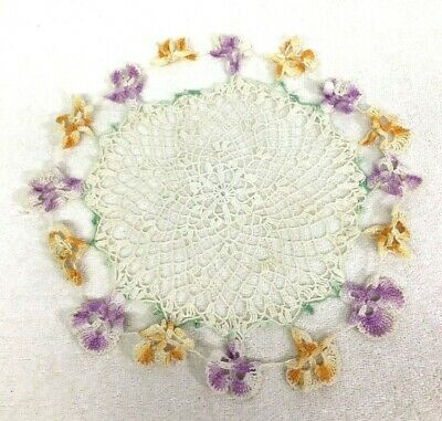 """Handmade Crochet Pansy Doily 14"""" In Great Shape Well Made T3"""
