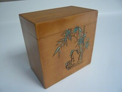 Vintage Lacquered Wooden Bamboo Tea Caddy / Box Made in China by HNA
