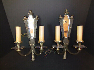 E. F. Caldwell? Solid Bronze Arts & Crafts 2 Lite Wall Sconces W/ Beveled Mirror