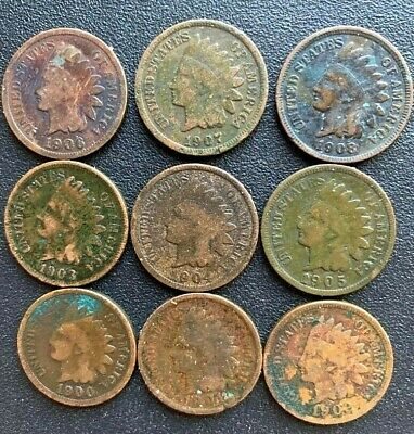 1900-1908 Indian Head Pennies.  **CONSECUTIVE LOT** 9 COINS TOTAL