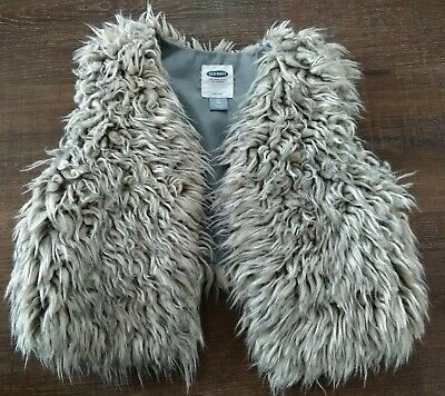 Old Navy Girls Faux Fur Vest Coat Cardigan with Hidden Button - Size 5 5T