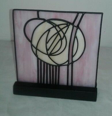 "STAINED GLASS PANEL CHARLES RENNIE MACKINTOSH Panel w/Stand 6"" x 6"" Reproduction"