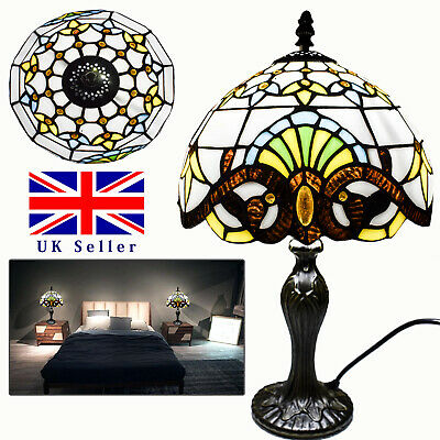 TIFFANY Style Stained Glass Multi Colour Lampshade Antique Base Table Lamp