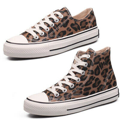 Womens Girls Leopard High Top Sneakers Pumps Canvas Casual Sports Shoes Fashion