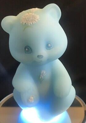 FENTON Glass Sitting Bear - Blue Satin W/ Sparkly Aster Flowers - (L1)