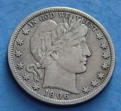 1906 - D Silver Barber Half Dollar - Antique - Vintage - Free Shipping