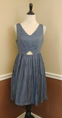 58935f1528 NEW Modcloth Brand Dress M Denim Blue Chambray w White Dots Midriff Cutout  Fun