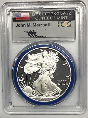 2007 W $1 Silver eagle PCGS graded PR70DCAM Mercanti signed with flag