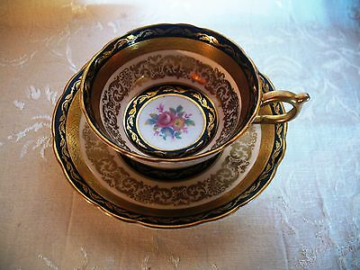 Paragon Fine Bone China, Cup & Saucer, Her Majesty Queen Mary Cobalt Blue & Gold