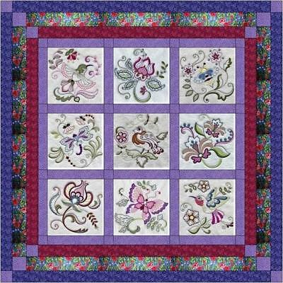 Quilt Kit/Jacobean Floral/Pre-cut Fabrics Ready To Sew/w/Finished Embroidery