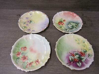 Set Of 4 Vintage RC Rosenthal Claire Bavaria Cake Bread Plates Hand Painted