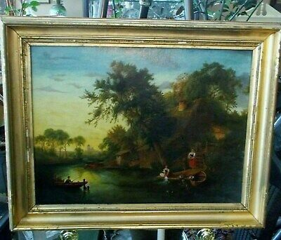 Village Daily Life Oil on Canvas River Landscape c1875 antique art painting