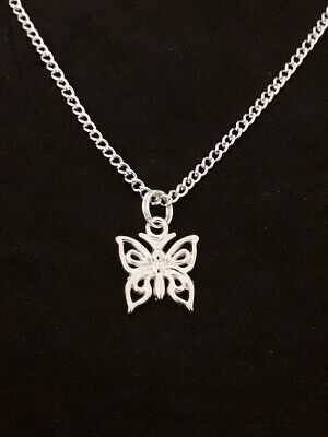 Childs Silver Plated Curb NECKLACE Childrens Little BUTTERFLY Cute Girls Gift