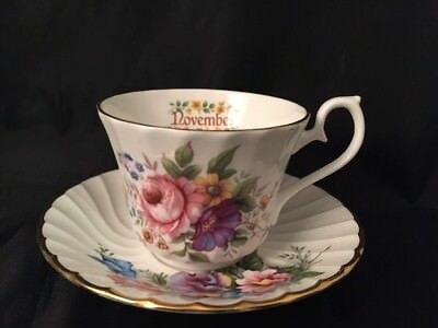 Royal Kendal Cup And Saucer November Fine Bone China Made In England