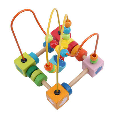 Wooden Baby Math Toys Kids Counting Circles Bead Abacus Wire Maze Roller Toy G