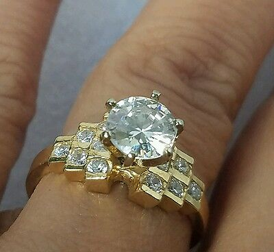 1.25 Carat 14k Real Yellow Gold Round cut man made diamond Engagement Ring S7