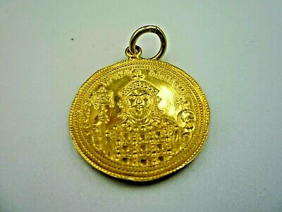 Medallion With Byzantine Coin, New, Not Antique, Sterling Silver 925+Gold-Plated