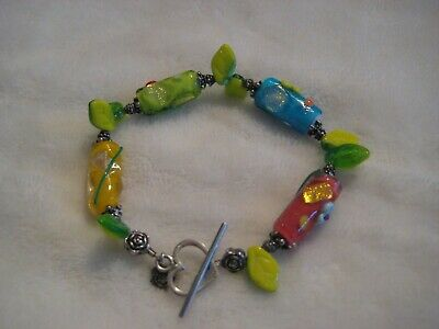 Sterling Silver 925 Heart Toggle Bracelet not Scrap Lot Gorgeous Colors 7 3/4""