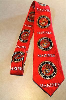 """NWT Mens Marines Neck Tie Red United States Marine Corps Poly Harris 58""""L 3.8""""W"""