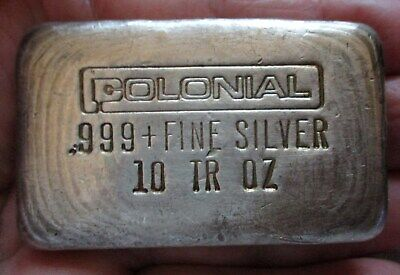 Colonial - 10 Troy Oz. - Silver Bar Old Cast Poured .999+ Fine