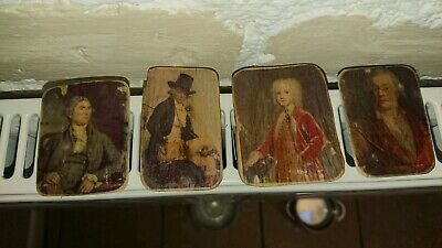 4 x Miniature very small Picture of historical men portraits on Wooden panels