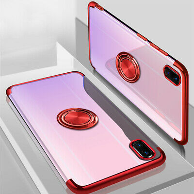 For iPhone XS Max XR 8 7 Ultra Slim Rubber Clear Magnetic Metal Stand Case Cover