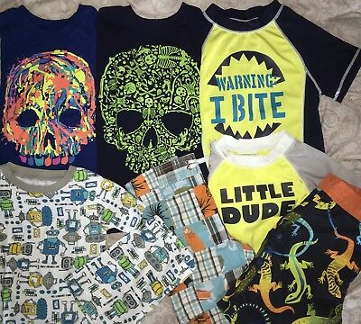 GYMBOREE Children's PLACE Crazy8 LOT Scull Rashguard Swim Shorts PJs Size 4T 5T