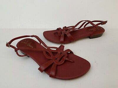 1e78312c6 Cole Haan Red Leather Strappy Womens Sandals Flats Shoes Sz 6 B Thong  Huarache