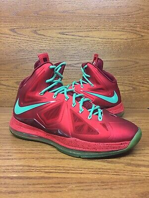 f360f03ae61f Nike Lebron 10 Christmas Mens Basketball Shoes Size 11.5 Red Green No Box