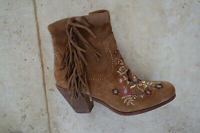 07491889b New Brown Suede SAM EDELMAN Winnie Floral Embroidered Fringed Ankle Boots  8.5