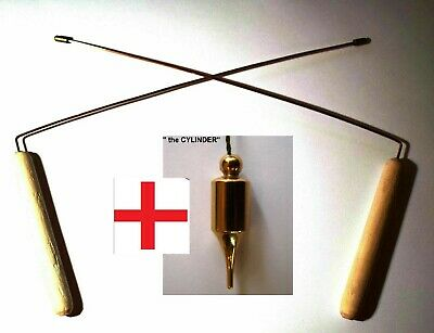 Lot 3 pcs.: 2 DOWSING Divining Rods HUNTING SPIRIT biolocation + Brass Pendulum