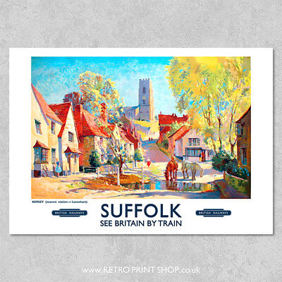 BR Suffolk Kersey Poster - Railway Posters, Retro Vintage Travel Poster Prints