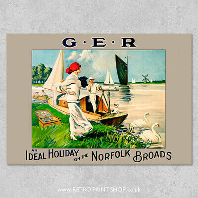 GER Norfolk Broads Poster - Railway Posters, Retro Vintage Travel Poster Prints