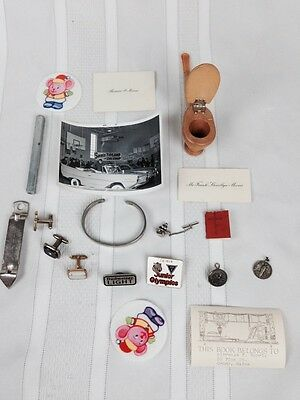 VTG Junk Drawer Lot Jewelry Photo Pipe Pins Patch Cufflink Random Cool Collect