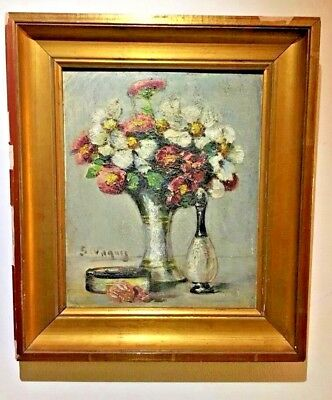 Emile Vaquez Signed French Oil On Wood 19Th Century - Still Life Flower Bouquet