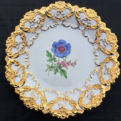 Meissen Antique Hand Painted Floral Cabinet Plate Perfect Gilt Stunning