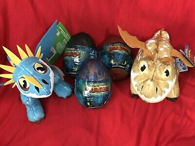 """How To Train Your Dragon 3 Plush in 3"""" Egg-Toothless Meatlug 3 Eggs & 2 Plush"""