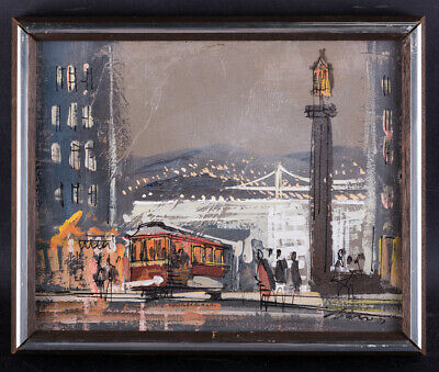"California Listed Artist John Checkley 1922 - 1991 Oil ""City Street Scene"""