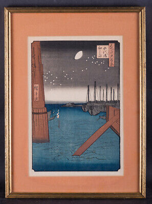 """Antique Japanese Woodblock Print By Hiroshige """"One Hundred Famous Views of Edo"""""""