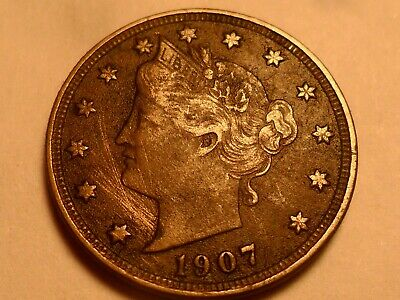 "1907 Dark Detailed ""full Liberty"" Liberty Head Nickel Mintage 39,213,325!!"