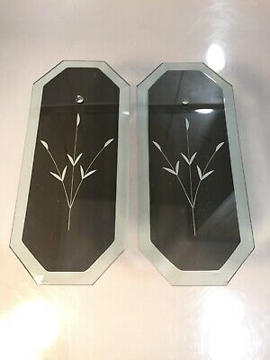2 Vintage Chandelier Replacement Glass Panel Beveled Etched Mirrored MCM