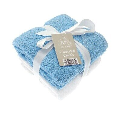 2 Pack Soft Blue White Cotton Newborn Elli & Raff Baby Hooded Bath Time Towel