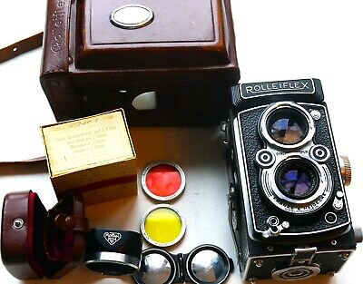 Rolleiflex TLR Automat MX camera with 75mm f3.5 Tessar + front cap & ER Case + H